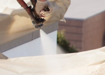Armstrong Roofing - spf sprayer on a flat roof