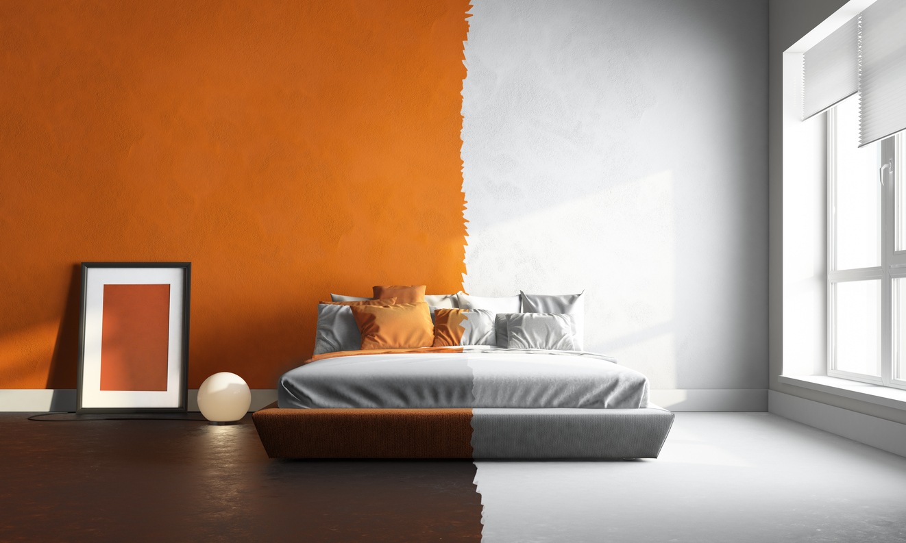 3d interor of orange-white bedroom | Armstrong Painting, Roofing and ...